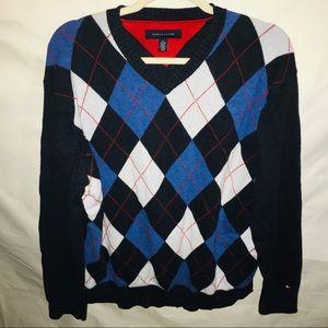 TOMMY HILIFIGER v neck argyle blue sweater XL